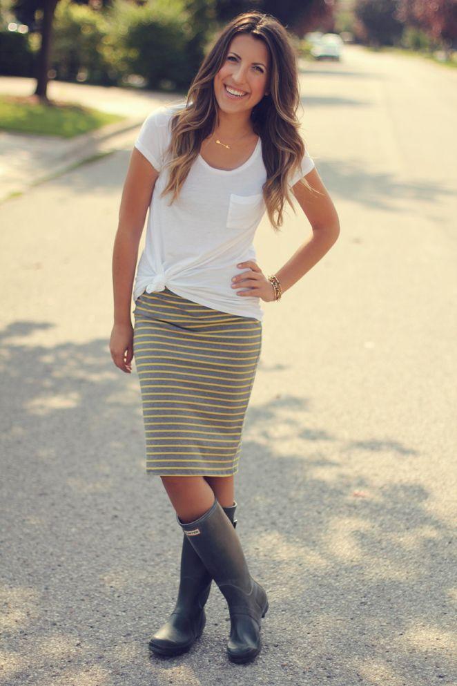 jersey pencil skirt boots inspiration