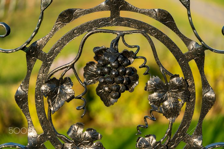 Grape gate - Gate with iron grapes at a winery in Villány, South Hungary