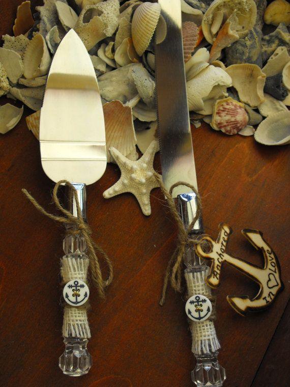 Servidor de pastel de boda náutica de playa y Set de cuchillos