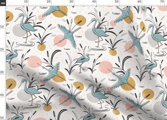 Crane Fabric Marshland By Heatherdutton Crane Birds Summer
