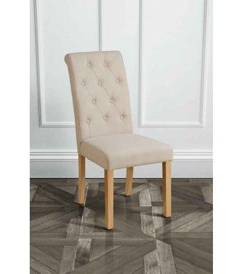 Genoa Beige Upholstered Scroll Back Dining Chair with Natural Legs