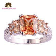 Fashion Rings Wholesale Cocktail Rings Emerald Cut Morganite 925 Silver Rings for women Men Size 10 Fashion Jewelry For Party