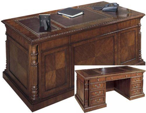 """Rustic Americana Hardwood Executive Desk Home Office: 72"""" Solid Wood Executive Desk With Leather Top FHD930 By"""