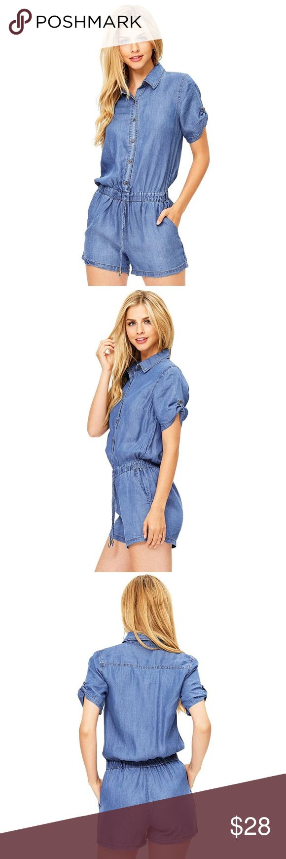 """Women's Juniors Short Sleeve Denim Romper One piece chambrayromper withshort sleevesbutton up top. Drawstring waist on theshorts with pockets at the sides.  Features  One piece chambrayromper withshort sleevesbutton up top. Drawstring waist on theshorts with pockets at the sides. Machine Wash Cold 100% Tencel 30.5 in /78 cm Top to Bottom; 2.75""""/7 cm Inseam (Model is 5'7 and wearing a Size Small) Designed in Los Angeles, California Jeans Overalls"""