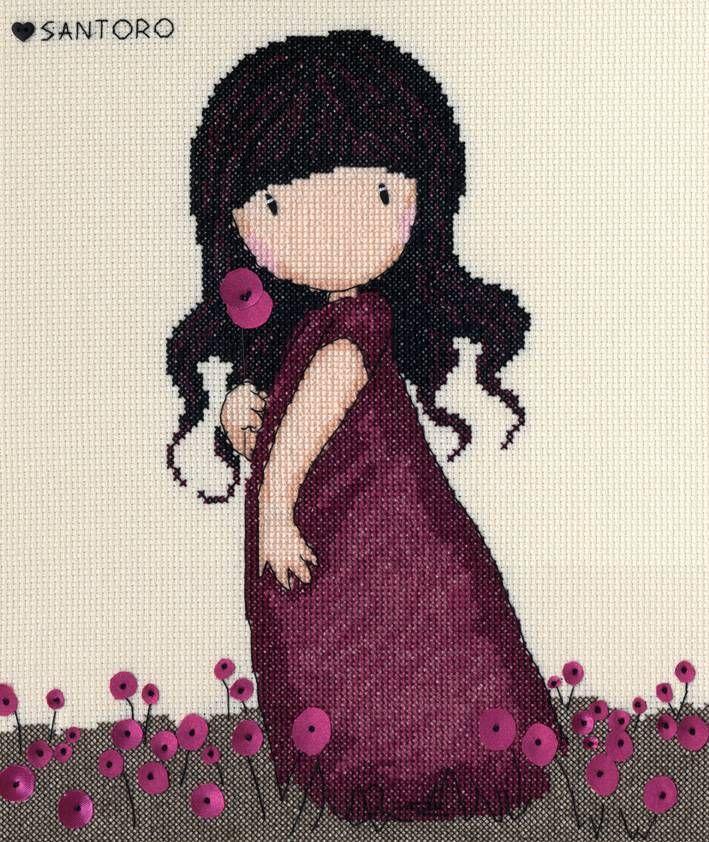 Gorjuss Pink Poppy Cross Stitch Kit - £25.00 on Past Impressions   by Bothy Threads