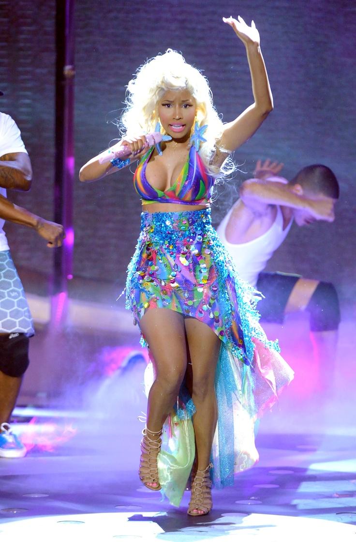 Nicki Minaj, performing in this technicolor bikini top.