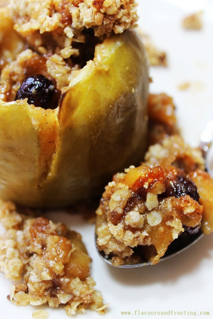 Baked Stuffed Apple Crisp Recipe flavored with cranberries, ginger and cinnamon. http://www.flavoursandfrosting.com/baked-stuffed-apple-crisp-recipe/