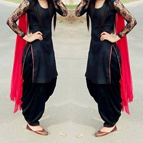 Buy Mastani Kreation Black Cotton Patiala Unstitch Dress With Net Sleeve online in India at best price. Fabric :-Top : Pure Cotton , Bottom : Cotton, Dupatta : Chiffon, Sleeve : Rasel Net Color :- Top : B