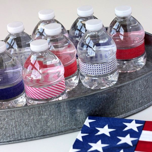 Washi tape covered water bottles for entertaining ... the possibilities are endless!
