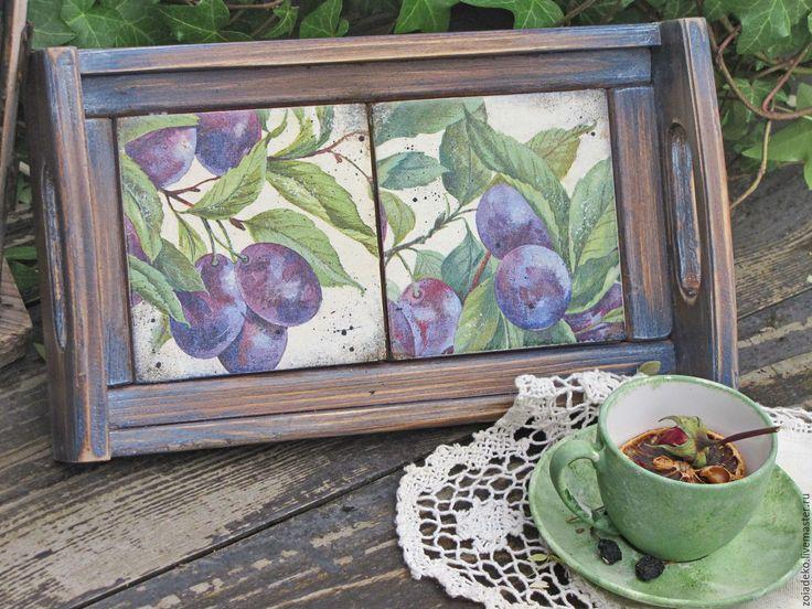"""Купить Подносик """"Plam garden"""" - синий, поднос, поднос для кухни, поднос для завтрака"""