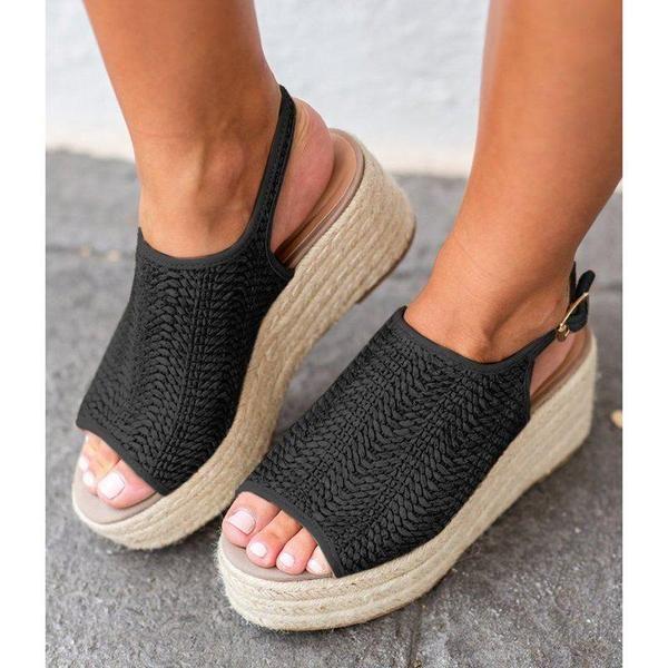 Women Platform Peep Toe Weaving Sandals