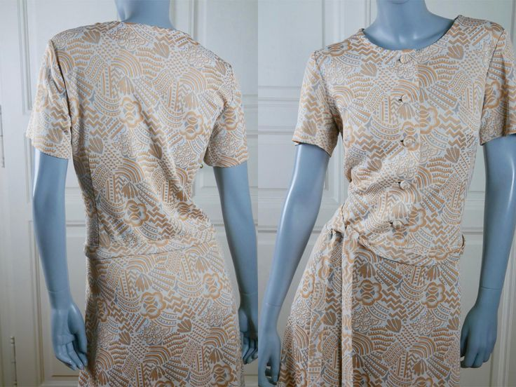 70s Dress, Spring/Summer Short-Sleeve Knee-Length Crimped Polyester Belted Dress w Beige Gray Ochre Abstract Pattern: Size 10 US, Size 14 UK by YouLookAmazing on Etsy