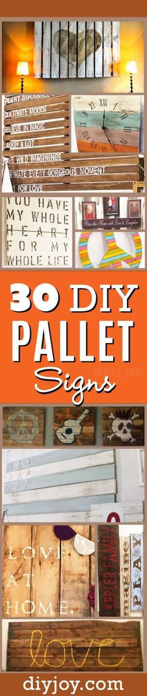 Pallet Sign Ideas - DIY Pallet Signs and Wall Art for Cheap Rustic Home Decor by yvette