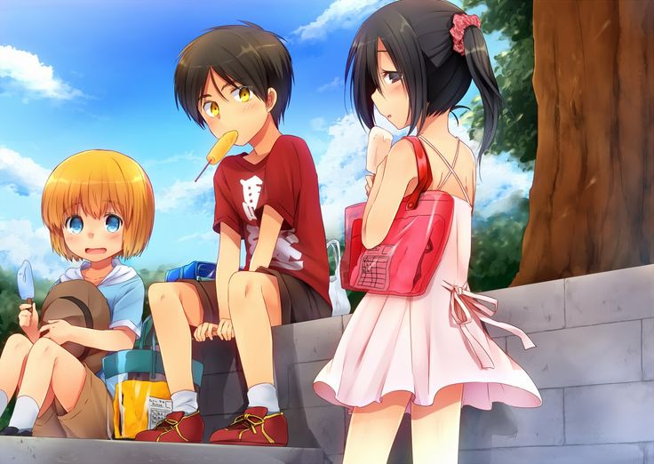 Attack On Titan Armin Eren And Mikasa