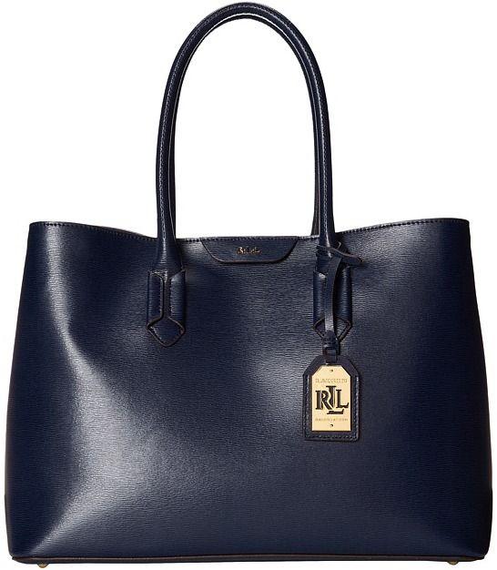 $268, Navy Leather Tote Bag: Lauren Ralph Lauren Lauren By Ralph Lauren Tate City Tote. Sold by Zappos. Click for more info: https://lookastic.com/women/shop_items/155387/redirect