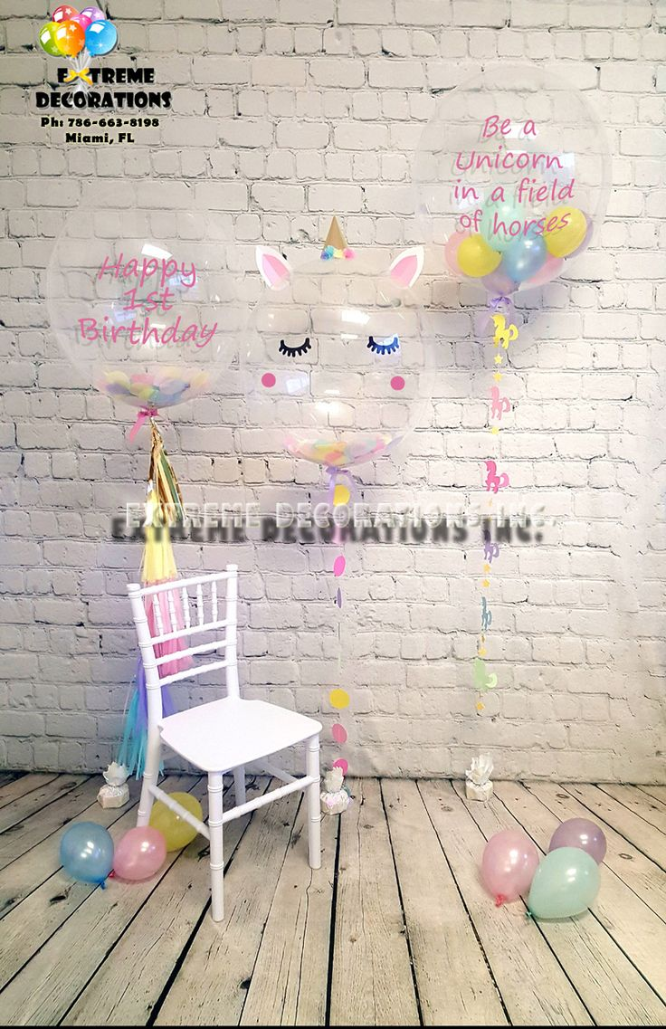 Unicorn theme Bubble Balloons Personalized with message. Unicorn character balloon. Balloon with tassels and confetti. Delivery in Miami FL or shipped Nationwide USA. Party decorations Miami. Party decorations ideas. Extreme Decorations Miami Ph: 786-663-8198 www.extremedecorations.com