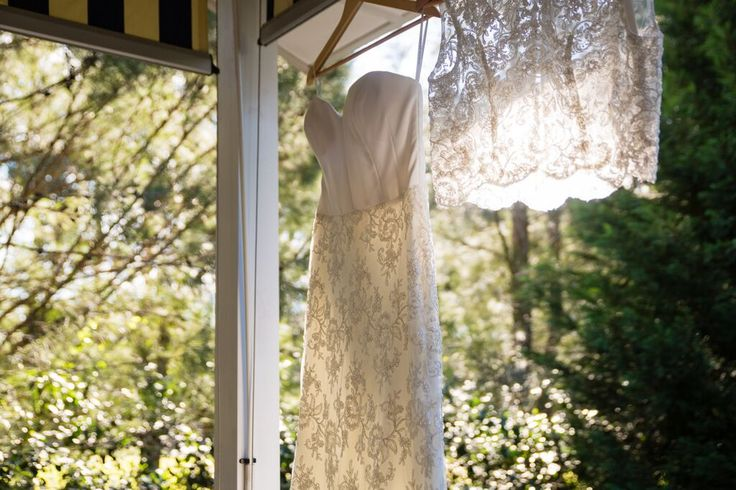 Strapless bodice + lace wedding gown paired with a lace scalloped edge top PC: Sheringham Photography