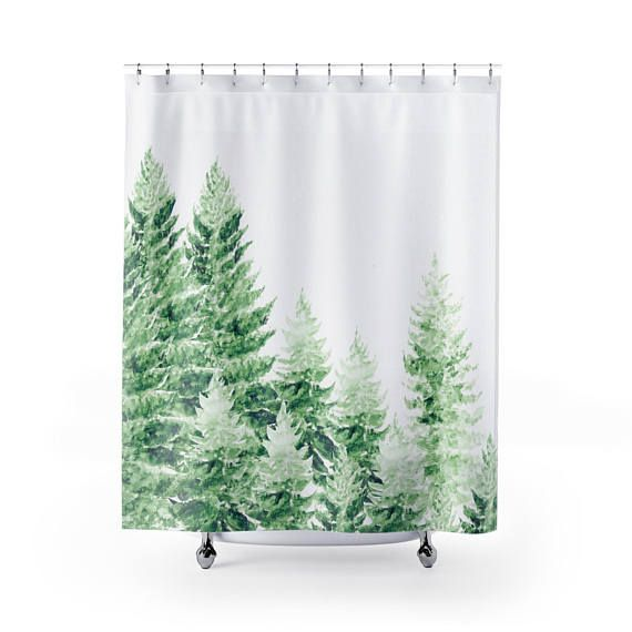 A shower curtain with my painting printed on it Size: 71 x 74 100% Polyester 12 holes for hook placements Hooks not included Pine Tree Shower Curtain, forest shower curtain, tree shower curtain, pine tree curtain, forest curtain, green shower curtain