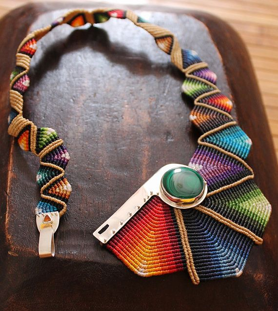 Cavandoli macrame STATEMENT necklace RAINBOW with semiprecious stone in sterling SILVER, fiber necklace made to order. €170.00, via Etsy.