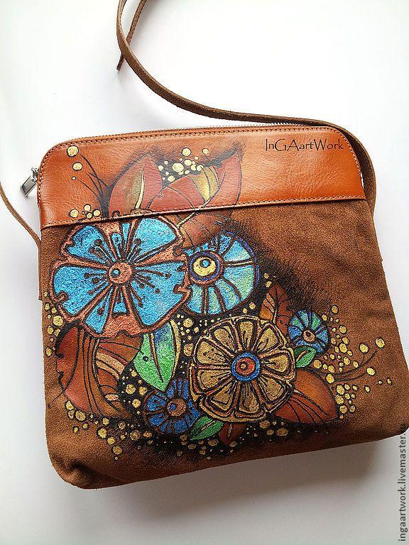 """Купить Cумочка """"Когда лопаются весенние пузЫрики"""". Ручная роспись. - сумка, сумка из натуральной кожи"""