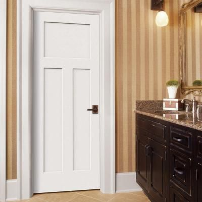 JELD-WEN Craftsman Smooth 3-Panel Solid Core Primed Molded Prehung Interior Door-THDJW137100056 at The Home Depot