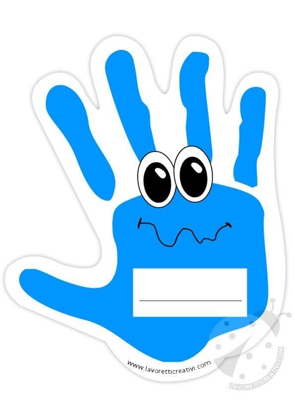 Mani portanome da attaccare su un cartellone il primo giorno di scuola. IDEE ADDOBBI AULA SCUOLA Impronte mani Materiale: cartellone pennarello nero forbic