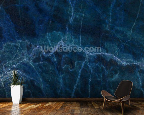 Dark Blue Marble Wall Mural Wallsauce Us Blue Marble Wallpaper Marble Wall Mural Blue Marble