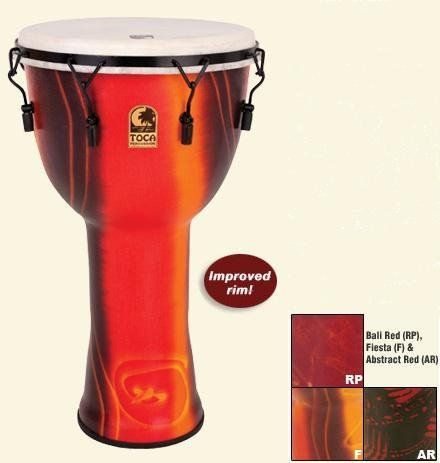 """Toca SFDMX-10F 10"""" Freestyle Djembe (Fiesta) by Toca. $99.99. Features: Launched in 2005, our Freestyle Djembes are one of a kind. This patented innovation is lightweight, durable and offers the same great sound as our wood Djembes, with a slightly higher tone. They are the perfect choice for drum circles, percussive gatherings and classrooms because of their durability and portability. Best of Show at NAMM 2007, Toca Djembes are a true show-stopper. A striking, pro..."""