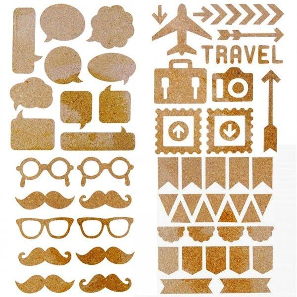 Illustrez une création artistique, un album ou un scrapbooking avec ces stickers en liège vintage. 68 stickers - Loisirs créatifs - Youdoit