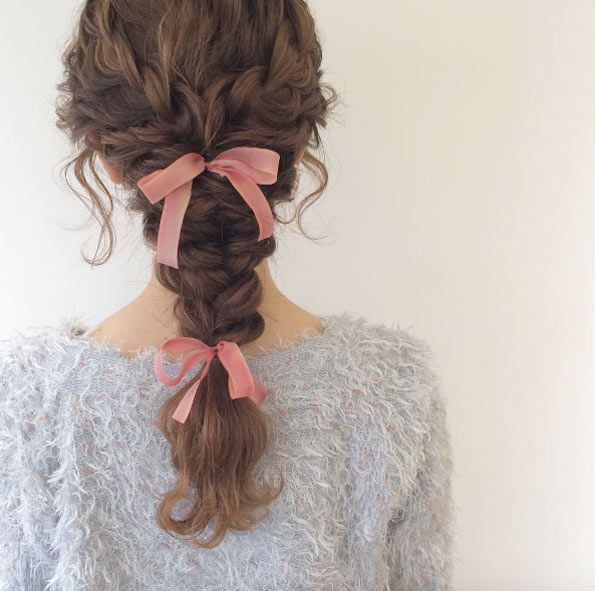 Curly braids with pink ribbons by Miyu Wada