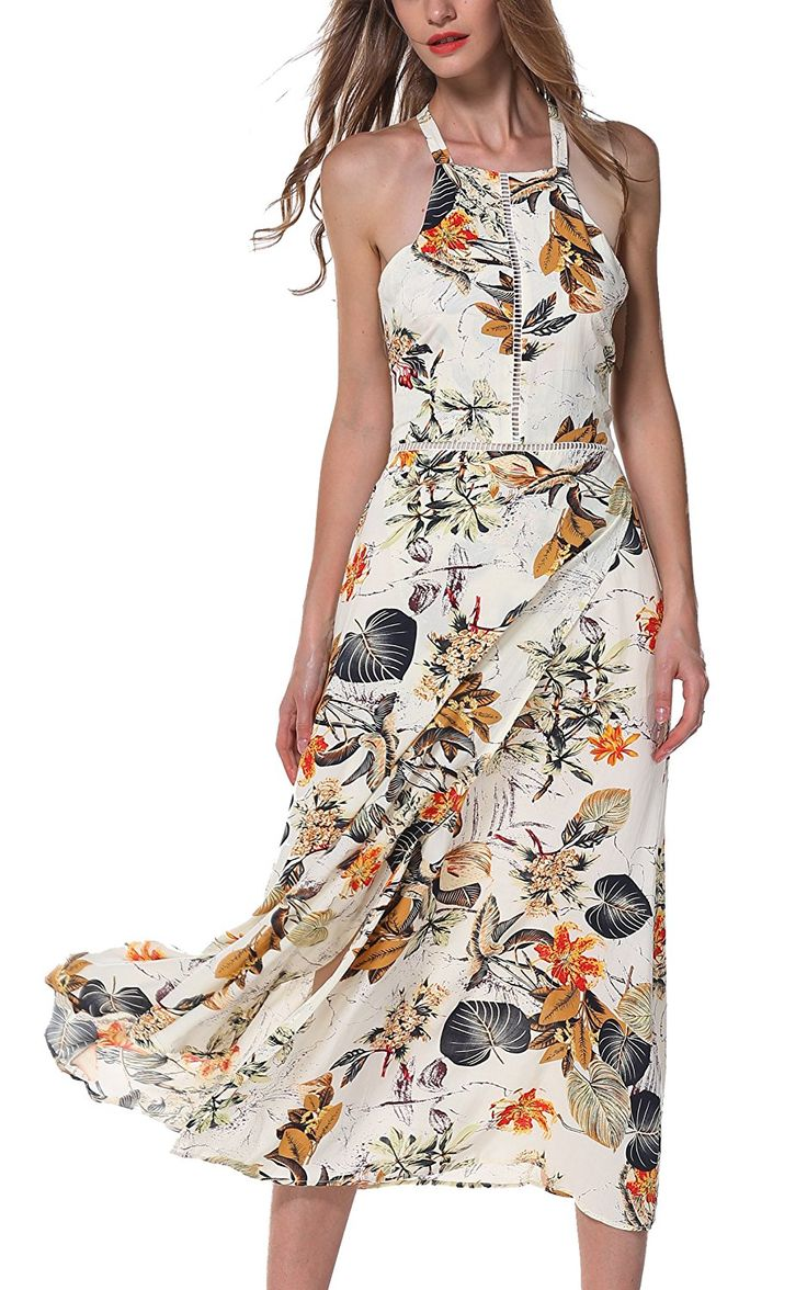 ARANEE Women's Button Up Split Floral Print Long Maxi Boho Bohemian Dress
