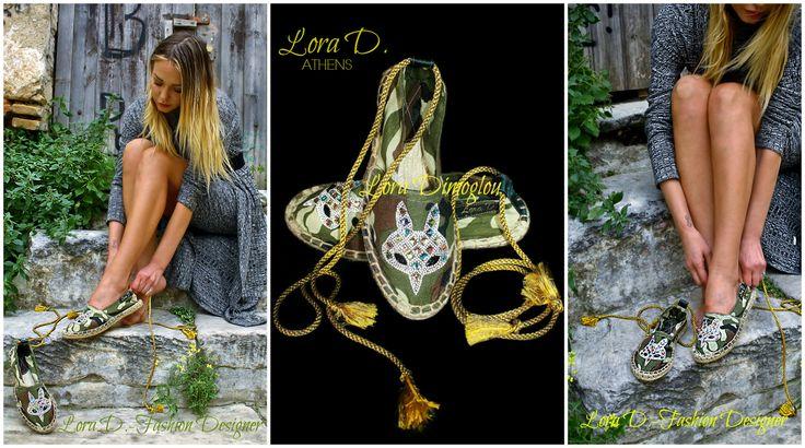 Νέο προιόν από την Lora Dimoglou - Fashion Designer. Espadrilles χειροποίητες και σχεδιασμένες από την ίδια πολλά και μοναδικά σχέδια και χρώματα ,για να ομορφύνουν και να χρωματίσουν την Άνοιξη και το Καλοκαίρι σας! Θα τα βρείτε με παραγγελία από την ίδια στο τηλέφωνο ή στο ινμποξ της σελίδας https://www.facebook.com/Lora.Dimoglou/ και τώρα σε αποκλειστικότητα και στο κατάστημα της Μυκόνου Mykonos Sandals www.facebook.com/... Espadrilles handmade by : Lora Dimoglou