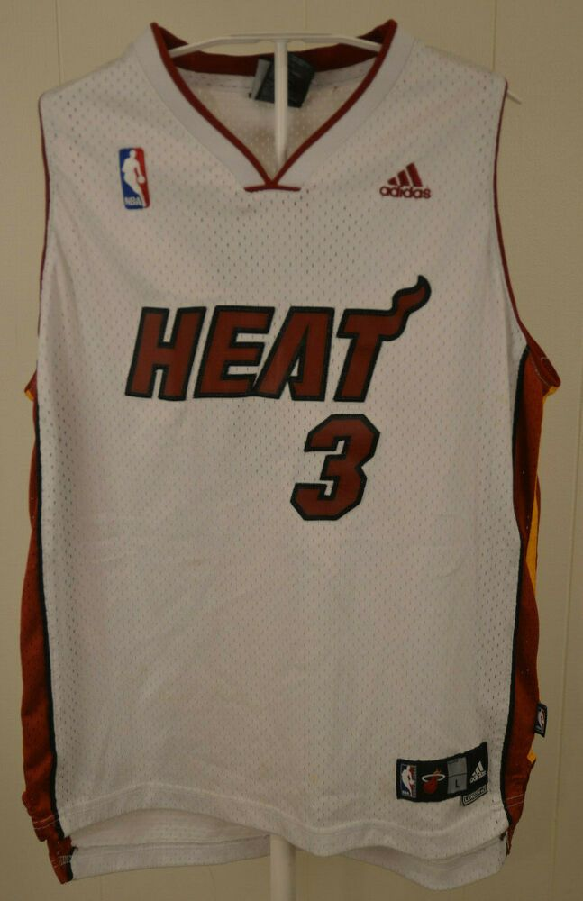 super popular 09ed1 5e9bb Authentic Adidas Miami Heat Jersey #3 Dwyane Wade NBA Kids ...