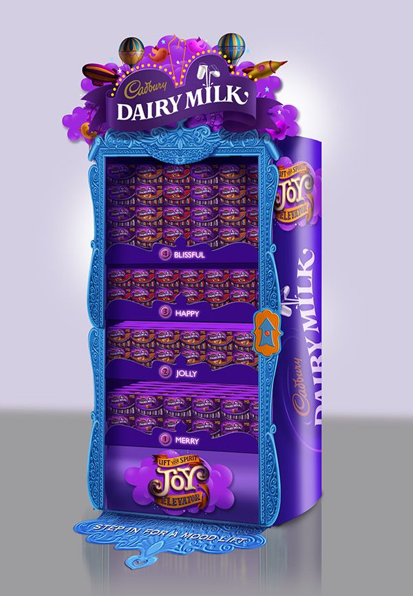 """POSMs for Cadbury Dairy Milk. The campaign is called """"Joy Elevator."""""""