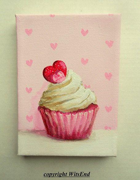 Valentine Cupcake painting original ooak Dessert art by 4WitsEnd via Etsy