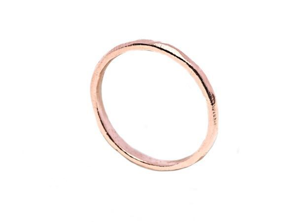Hammered Ring Rosegold - Rosegold plated sterling silver - HeidisHoff.no