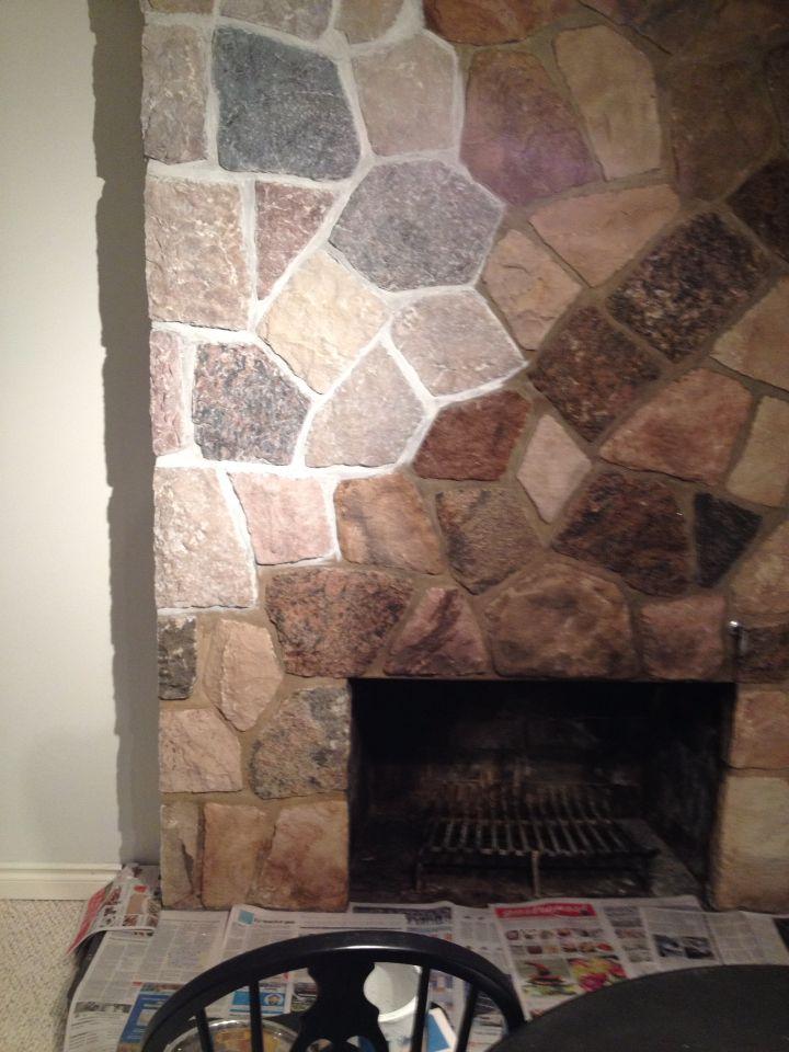 Whitewashed stone fireplace in progress Whitewash