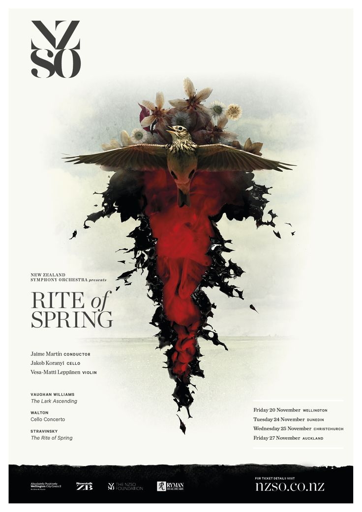 Rite of Spring 20 - 27 November 2015. Discover why Stravinsky's avant-garde 1913 ballet score for The Rite of Spring sparked a riot in the theatre on its Paris premiere.  Visit the calm English meadows of Vaughan Williams' imagination for his widely-loved The Lark Ascending. https://www.nzso.co.nz/concerts/concert/rite-spring/