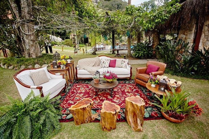 Lounge ao ar livre - Casamento no campo