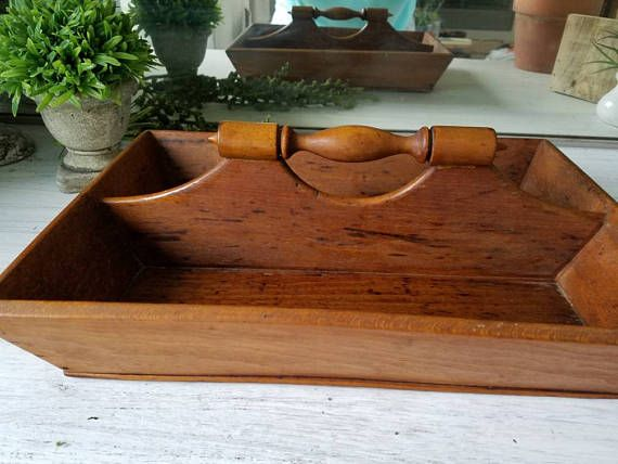 Check out this item in my Etsy shop https://www.etsy.com/listing/515033750/antique-wood-tray-caddy-silverware-tray