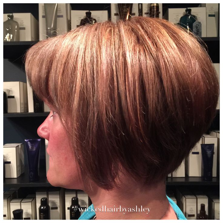 Stacked bob with highlights
