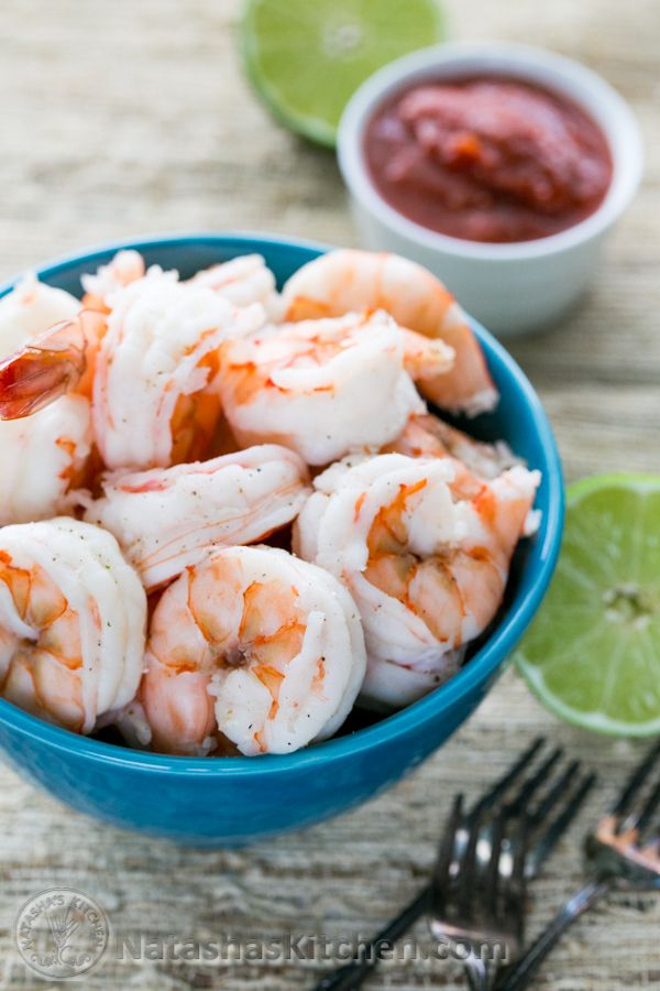 Easy Boiled Shrimp Recipe with tips for tasty, juicy shrimp every time! @NatashasKitchen