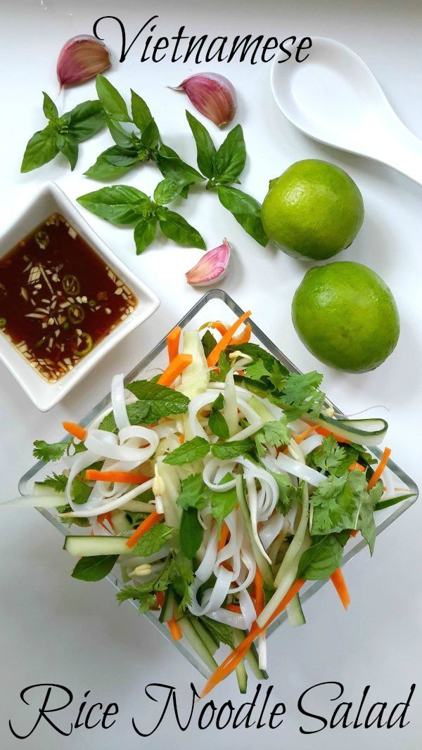 A refreshing summer salad of rice noodles, veggies, and mixed herbs. Prepared with a sweet and sour garlic-citrus dressing.