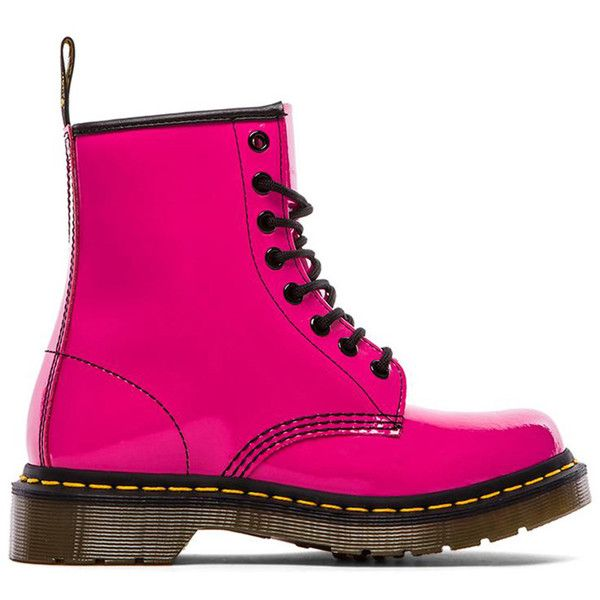 Dr. Martens 1460 W 8-Eye Boot Shoes (5,785 PHP) ❤ liked on Polyvore featuring shoes, boots, ankle booties, pink, ankle boots, lace up boots, dr martens boots, laced ankle boots, lace up bootie and short boots