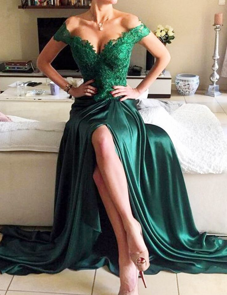 Long Emerald Green Off the Shoulder Prom Dress with AppliquesMade to order, can be made with any change-----------------------------------------------------------------------------【FABRIC】: Spande..