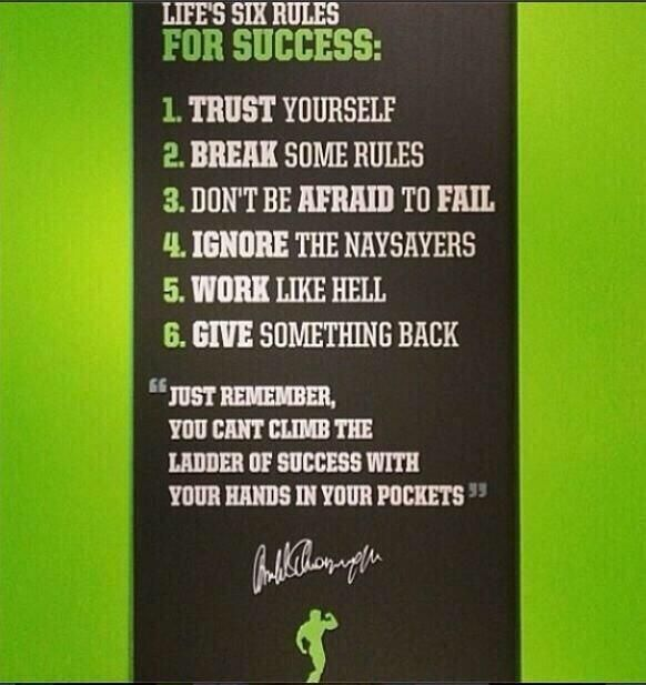 Arnold's 6 Rules for Success | Musclepharm | Pinterest ...