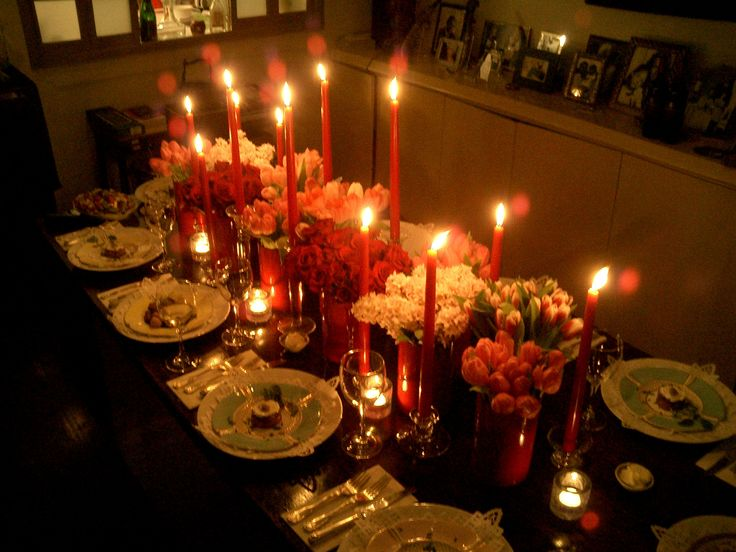 Elegant dinner party with table setting made by my