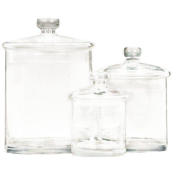 New Traditional 3 Piece Glass Decorative Jar Set Clear Glass Round Bottles With Flat Dome Lids And Thick Glass K Glass Canister Set Glass Canisters Glass Jars