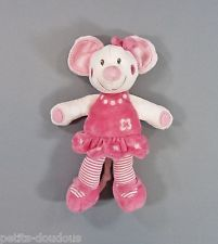 Doudou Souris robe rose fleur noeud Nicotoy N.V. Simba Dickie 27 cm