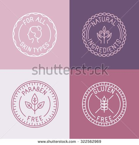 Vector set of badges and emblems in trendy linear style for organic and natural cosmetic packaging - for all skin types, natural ingredients, paraben free, gluten free
